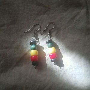 Jewelry - African Earings, red, yellow, green, black